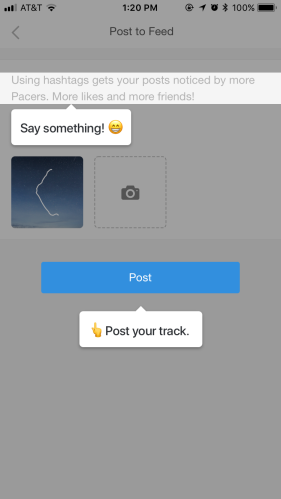 Pacer post photo to walking feed interface