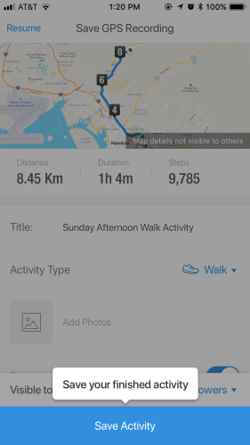 Pause Name and Save GPS Walk Interface