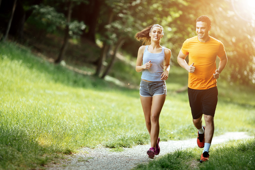 Happy joggers