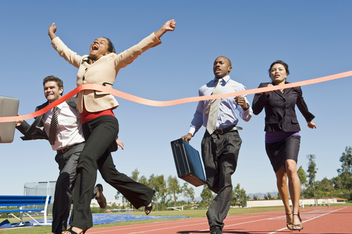 Businesspeople in step competition