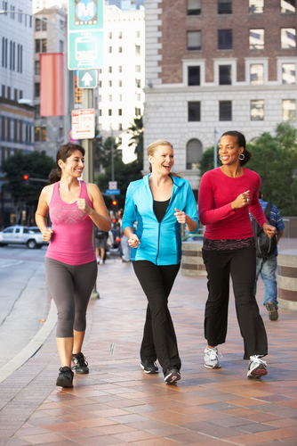 Women power walking together