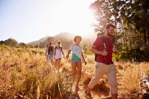 Hikers walking together for exercise