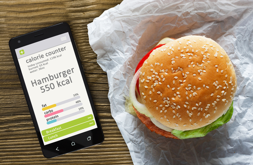 Tracking calories with a burger