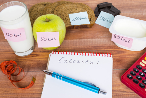 Different foods with calorie labels