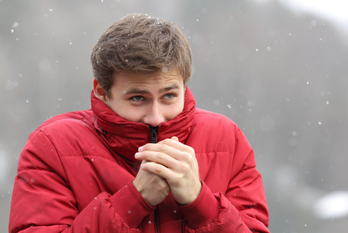 Man cold in the snow