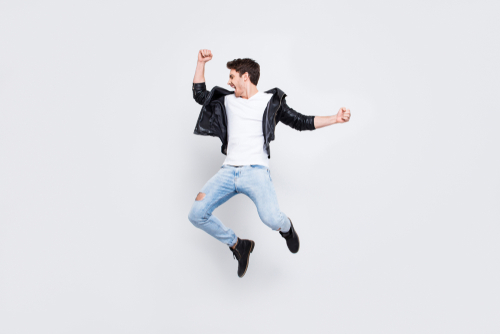 Energetic man jumping