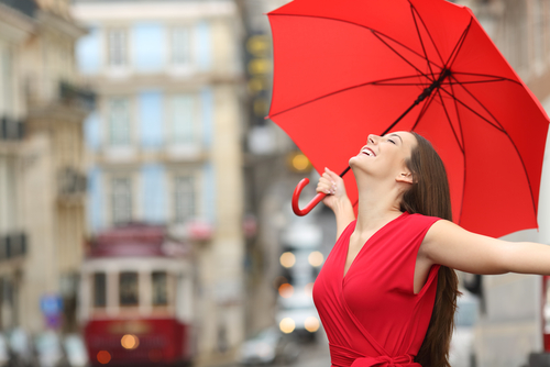 Woman happy despite rain