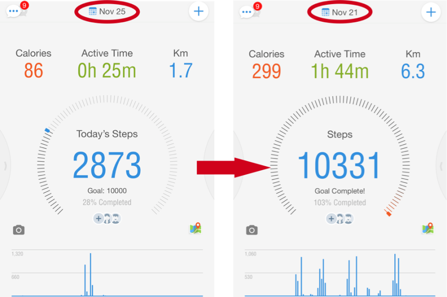 """How to """"Look Back"""" at a Previous Day's Steps: A Pacer Guide for iOS &Android"""
