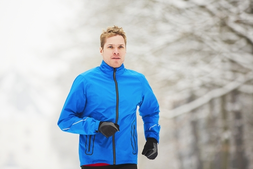 Man walking in winter clothes