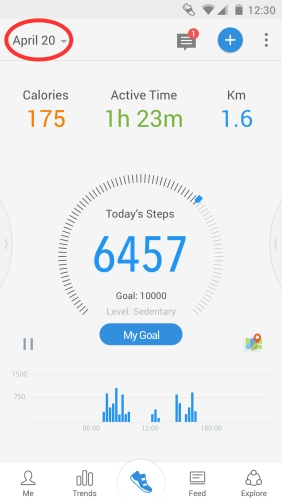 Pacer Android main interface for step counting