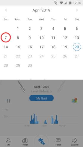 Pacer calendar interface to change days