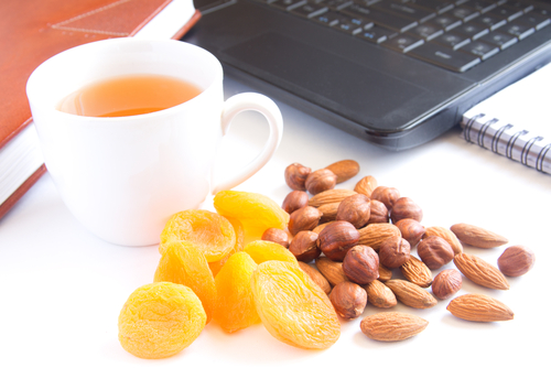 Healthy snacks at desk