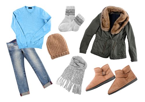 Winter clothes in layers