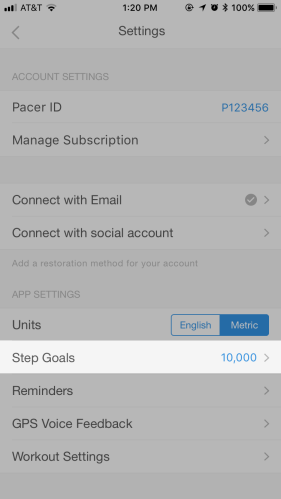 Pacer Step Goal Interface 1