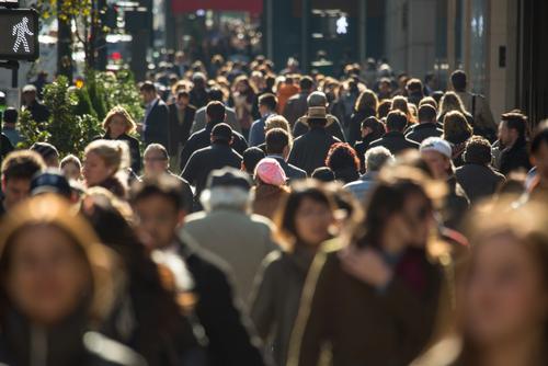 Crowd of city walkers