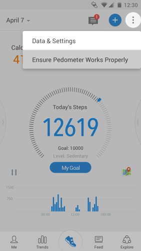 Pacer walking app android main screen