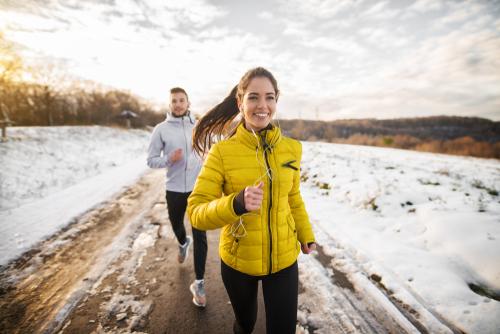 Intense winter walking couple