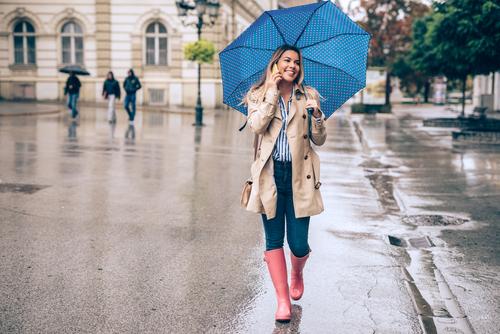 woman walking in rain with umbrella
