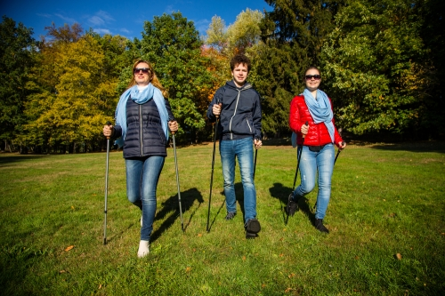 Walkers with walking poles in park