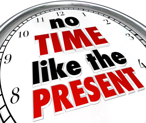 No time like the present clock concept