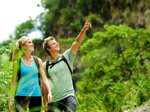 Couple on a nature hike in spring