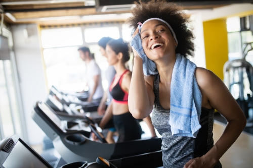 Woman sweating after cardio workout