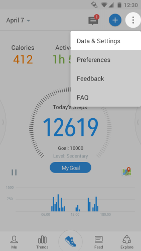 Pacer app Android interface