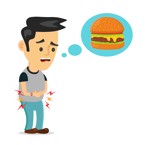 hungry man thinking of food concept