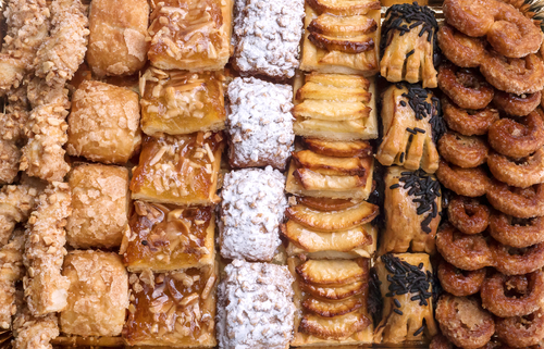 high calorie pastries and baked goods