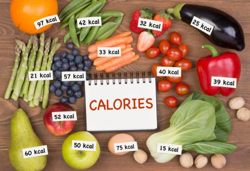 Vegetables with calorie labels concept