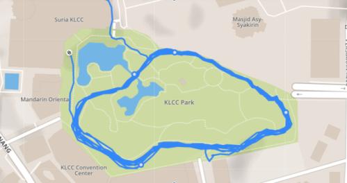 Pacer map of KLCC park Kuala Lumpur