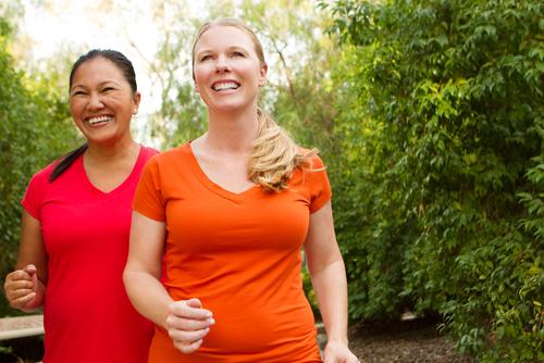 Women having fun walking together
