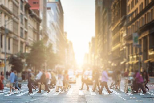 People walking in crosswalk in New York City