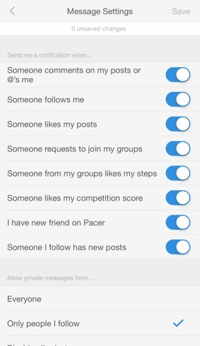 Pacer message center adjust settings