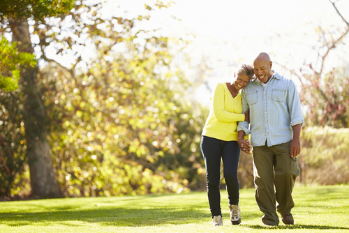 Senior couple walking together in the park