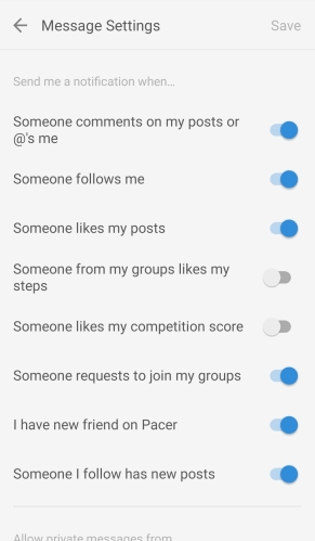 Pacer App Message Center Toggle Switches