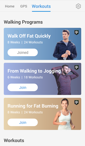 Pacer's new workouts interface
