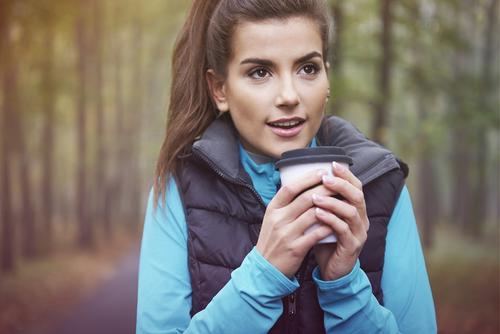 Woman drinking a coffee