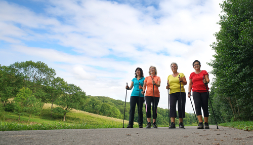 Group of women walking with poles for fitness
