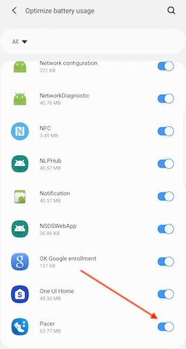 Android Pacer set battery optimizations menu