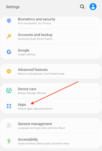 Android settings Apps interface