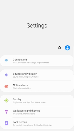 Android 9 settings page