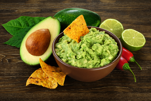 Avocado and guacamole with chips