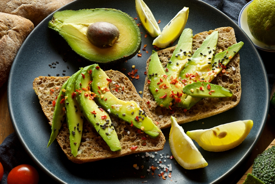 Avocado and avocado toast with toppings