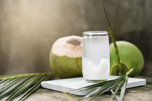 Coconut water and coconuts concept