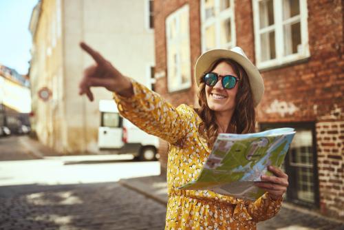 Urban explorer looking at a map