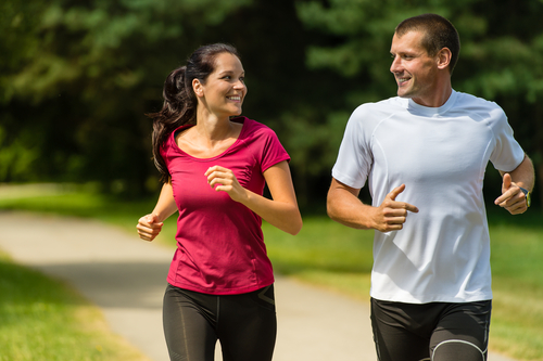 Couple jogging together for fitness