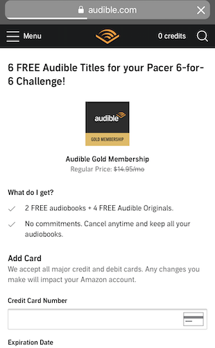 Audible 6 for 6 free trial offer
