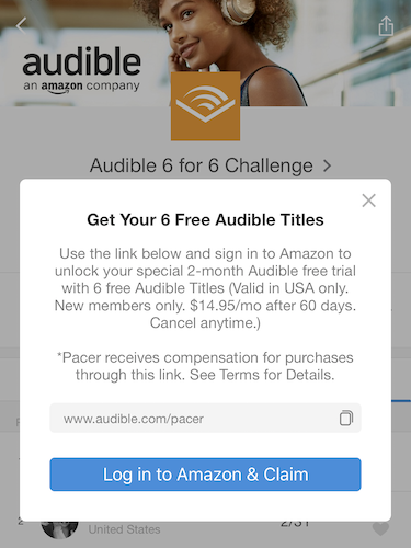 Audible 6 for 6 challenge link portal