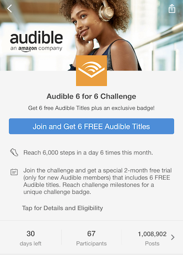 Audible 6 for 6 Challenge portal unjoined